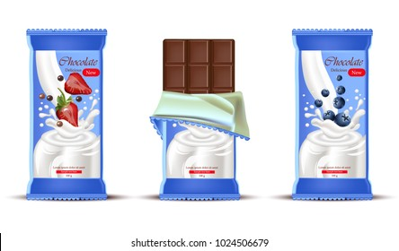 Strawberry chocolate bar with milk cream splash Vector realistic. Product packaging label designs