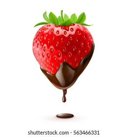 Strawberry in Chocolate Drop on White Background Isolated