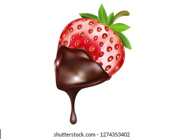Strawberry and chocolate with melting in the middle isolated on solid color background, Vector realistic in 3d illustration. Food concept.