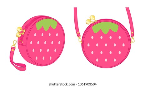 Strawberry circle bag, round purse, double slider zipper bag, daily zip pouch with detachable shoulder strap/ detachable wrist strap, vector illustration sketch template