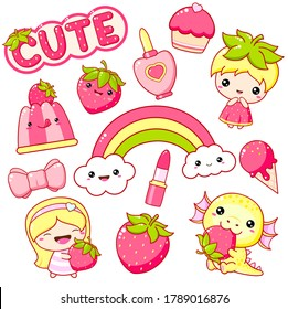 Strawberry collection. Set of kawaii summertime stickers. Little girl and dragon with ripe strawberry, rainbow, lipstick, cupcake, ice cream. Cute summer kit. Vector EPS8