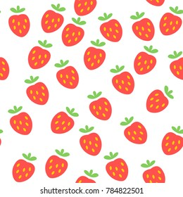 Strawberry Colorful Vector Flat Design Seamless Pattern