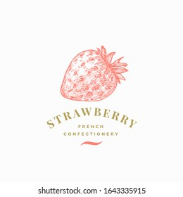 Strawberry Confectionary Abstract Vector Sign, Symbol or Logo Template. Hand Drawn Confectionery Berry Sketch Sillhouette with Elegant Retro Typography. Vintage Luxury Emblem. Isolated.