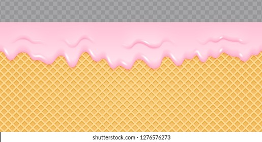 Strawberry Cream Melted on Wafer Background. Ice cream flow soft seamless texture. Vector Illustration.