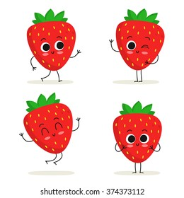 Strawberry. Cute fruit vector character set isolated on white