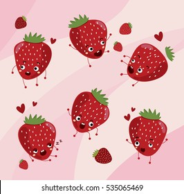 Strawberry. Cute fruit vector character set