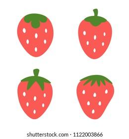 Strawberry cute vector icon set, fruit cartoon drawn logo set