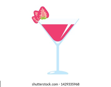 Strawberry Daiquiri drink with strawberry vector. Daiquiri glass with strawberry icon. Glass of Daiquiri isolated on a white background. Strawberry Daiquiri cartoon