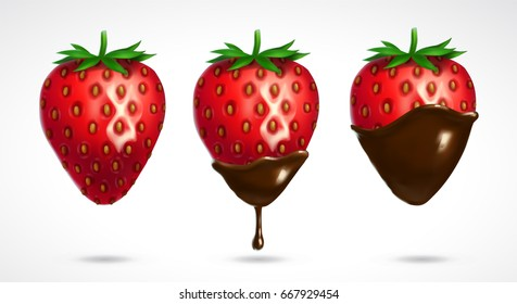 Strawberry dipped in chocolate. 3d vector icon isolated on white background. Realistic illustration