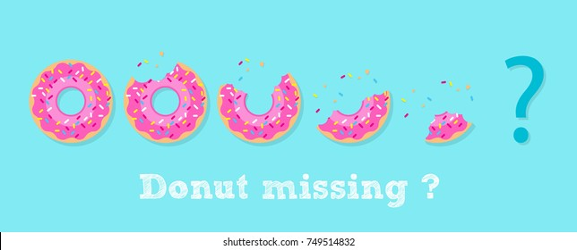 "Strawberry Donut illustration vector, Sweet soft Strawberry Donuts in concept ""Donut missing ?"". break time with donuts top view on blue background."