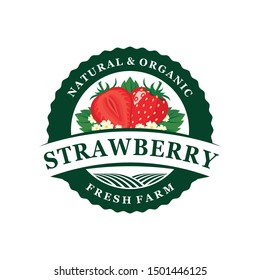 Strawberry farm freh logo template