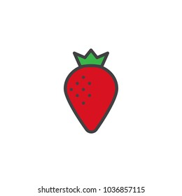 Strawberry filled outline icon, line vector sign, linear colorful pictogram isolated on white. Berry symbol, logo illustration.