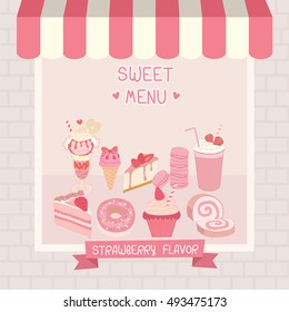 Strawberry flavor of dessert menu cafe shop showcase decoration with awning and brick wall in pink and  pastel background colors.Illustration vector.