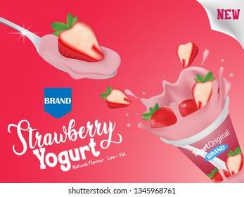 strawberry flavor yogurt ad, with milk splashing and strawberry elements on pink background, 3d illustration