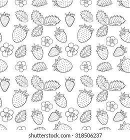 strawberry, flowers and leafs seamless sketch pattern
