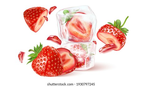 Strawberry fresh fruit set isolated element in the middle on white background. Realistic vector in 3D illustration.