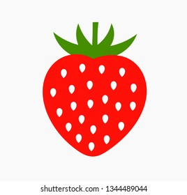 Strawberry fruit icon. Simple flat design vector illustration.