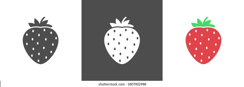 Strawberry Fruit Icon . Suitable for Fruits and Vegetables Theme, Infographics and Other Graphic Related Assets