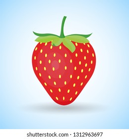 strawberry fruit illustration, flat style icon for strawberry, strawberry vector cartoon shape design, EPS 10 editable vector