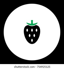 strawberry fruit simple black and green icon eps10
