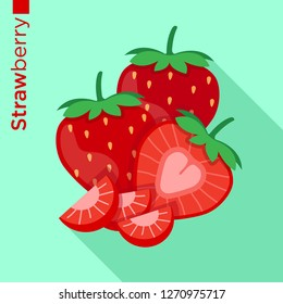 Strawberry fruit vector flat style