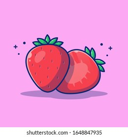 Strawberry Fruit Vector Icon Illustration. Strawberry and slices of Strawberry. Fruit Icon Concept White Isolated. Flat Cartoon Style Suitable for Web Landing Page, Banner, Flyer, Sticker, Card