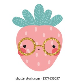 Strawberry with gold glitter glasses. Cute fashion kids graphic. Vector hand drawn illustration.