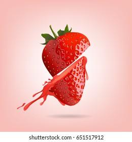 Strawberry half cut in splash on pink background, vector illustration.