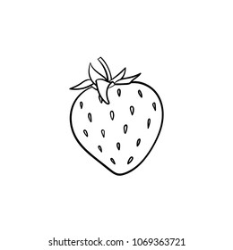 Strawberry hand drawn outline doodle icon. Vector sketch illustration of healthy berry - fresh raw strawberry for print, web, mobile and infographics isolated on white background.