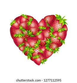 Strawberry heart illustration. Vector heart shape form made of strawberries.