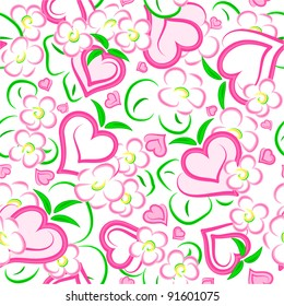 strawberry hearts and flowers seamless texture