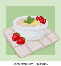 Strawberry Honey Oatmeal Breakfast With Peppermint Leaves Vector Hand Drawn Illustration.