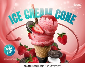 Strawberry ice cream cone ads with chocolate cookie and fresh fruit on glittering pink background, 3d illustration
