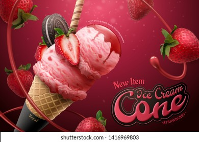 Strawberry ice cream cone ads with flying jam and chocolate cookie on glittering background, 3d illustration