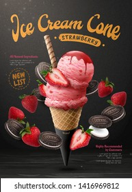 Strawberry ice cream cone ads with chocolate cookie and fresh fruit flying around it on black poster, 3d illustration