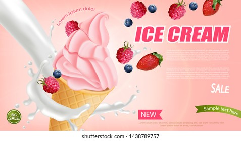 Strawberry ice cream cone Vector realistic. Swirled smooth creamy toppings. Fruits splash juicy background