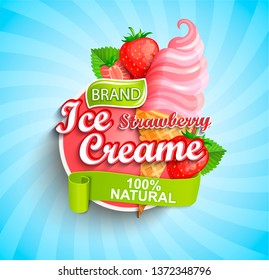 Strawberry Ice cream logo on sunburst background with berries and sundae in cone in cartoon style for your design.Gelato for banner,poster,brand,template and label,packaging,packing, emblem. Vector