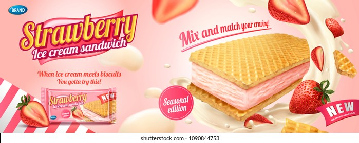 Strawberry ice cream sandwich with wafer cookies and splashing cream illustration, foil bag on light pink background