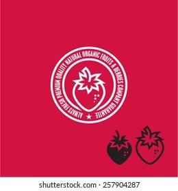 Strawberry Icon. Strawberry label.
