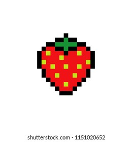 Strawberry icon or sign isolated on white background, Vector illustration pixel art