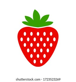 strawberry icon vector isolated on white background. Garden strawberry fruit or strawberries flat color vector icon for food apps and websites