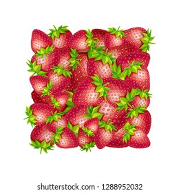 Strawberry illustration. Vector square shape made of strawberries.