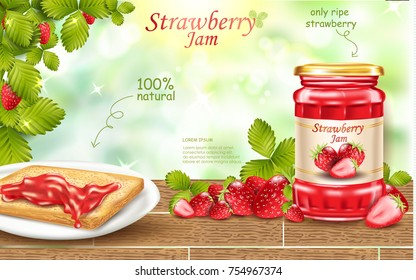 Strawberry jam ads, fresh berries realistic 3d illustration isolated on green bokeh background