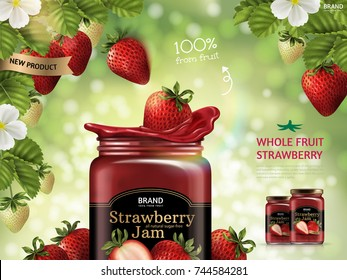 Strawberry jam ads, fresh fruit dropping down from strawberry plant in 3d illustration isolated on green bokeh background