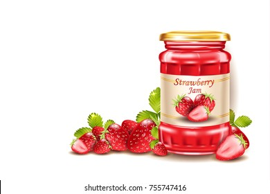 Strawberry jam, fresh berries with leafs,  realistic 3d illustration isolated.