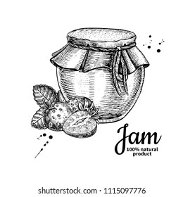 Strawberry jam glass jar vector drawing.  Fruit Jelly and marmalade.  Hand drawn food illustration. Sketch style vintage objects for label, icon, packaging design.