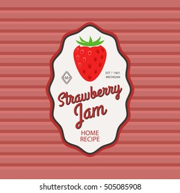 Strawberry jam retro fruit label and simple pattern backdrop. Vector illustration