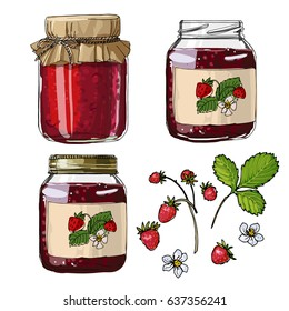 Strawberry jam. Strawberries. Set jars for jam. Black line on a white background. Vector skech food