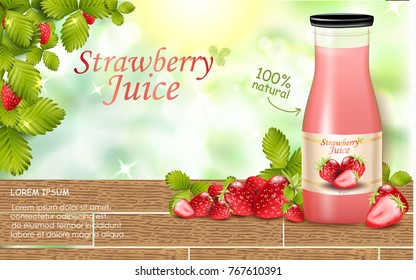 Strawberry juice ads, fresh berries realistic 3d illustration isolated on green bokeh background
