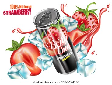 Strawberry Juice canned, soft drink and packaging with liquid splashing. Vector 3D realistic, Advertising concept. Of free space for your copy and branding.